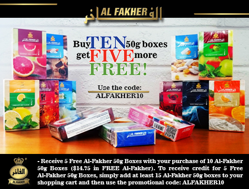 Buy ten 50g boxes of Al-Fakher and get five more free!