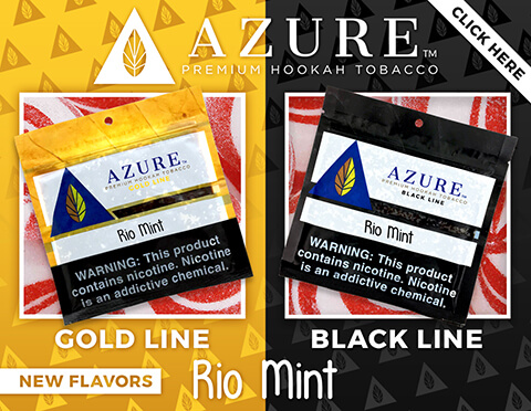 Azure Hookah Tobacco Rio Mint Shisha Gold Line and Black Line