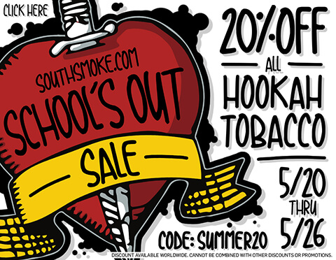 20 Percent Off All Flavored Hookah Tobacco